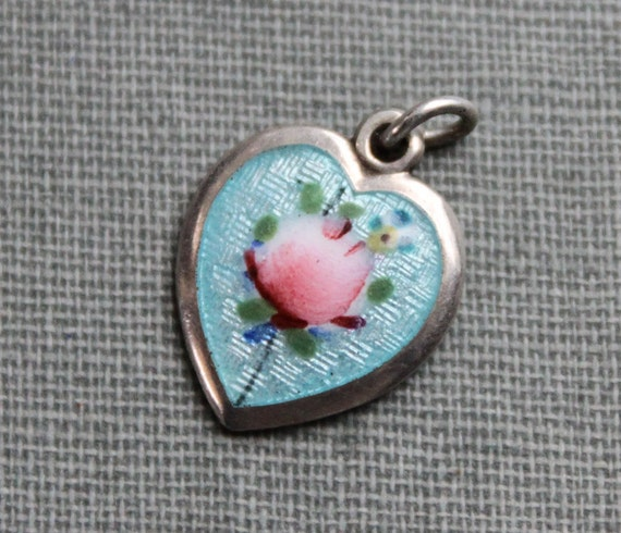 RESERVED for Mary W / Antique Sterling Guilloche Enamel Heart Charm / AEF Co