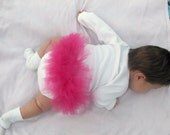 Custom Initialed long sleeved bodysuit with frilly tutu butt