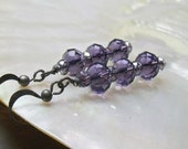 Stacks of Amethyst Faceted Glass Earrings Donation to American Black and Tan Coonhound Rescue