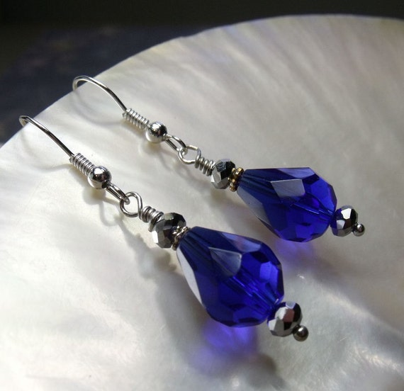 Sapphire Blue Crystal Earrings Donation to American Black and Tan Coonhound Rescue