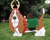 "Made to Order Hand Painted Basset Hounds Yard Art - ""Vixon"" - Santa's Reindeer Basset"