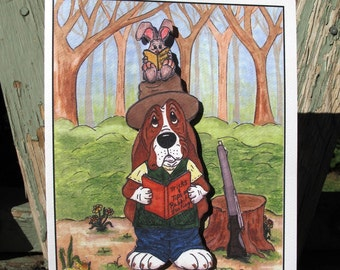 """1 Basset Hound Greeting Card - """"The Hunt"""" Pop-Out Card"""