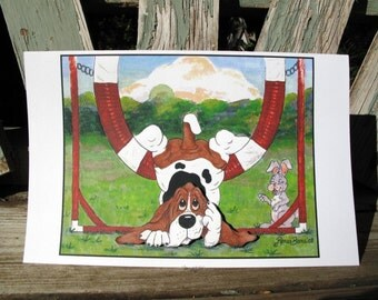 1 Basset Hound Agility Pop Out Greeting Card