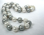 Grey/Silver and White Swarovski Handknotted Pearl Necklace
