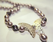 Purple Butterfly Handknotted Swarovski Pearls Necklace