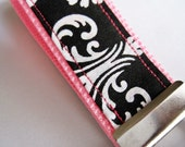 pink and damask mini fabric key fob from Bella Mia Bows
