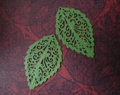Leaf Filigree Charms/Findings - CLEARANCE- LEAF GREEN Enamel - 31x18mm