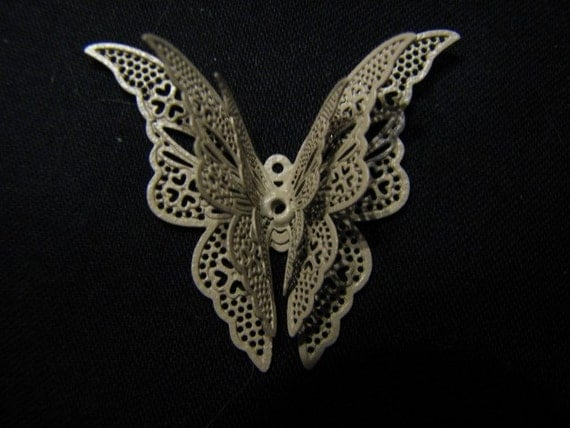 Butterfly Filigree - Grey - NOW 50% OFF - With Lifelike 3-D Wings - 42mmW x 35mmH x 7mmD