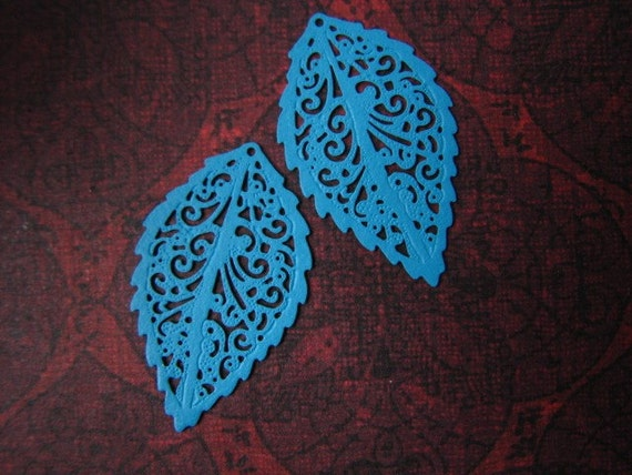 Lacy Leaf Pair - BRIGHT TURQUOISE - Enameled Filigree Findings - 31x18mm