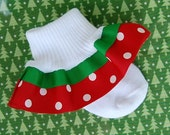 Red and Green Dots Boutique Ribbon Ruffle Socks...Holiday...Christmas