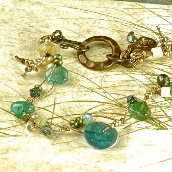 Sea Blues Roman Glass Anklet