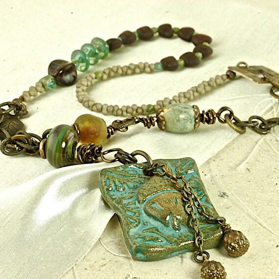 Pretty Acorn OOAK Ceramic, Boro and Glass Artisan Necklace