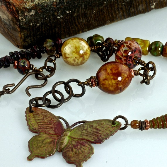 Close out SALE Butterfly Dreams,  OOAK,  Boro Glass and Enamel,  Artisan Necklace