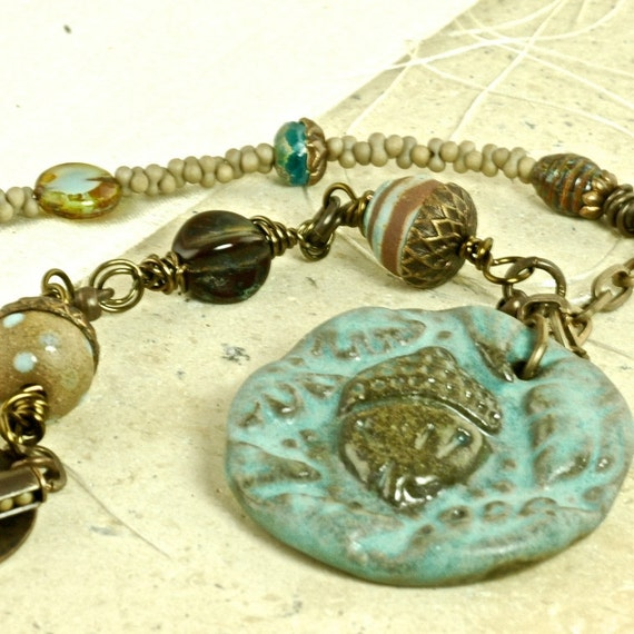 Chocolate Polka Dot OOAK Acorn Ceramic and Brass Handcrafted Necklace