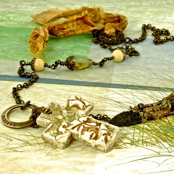 Believe Bead Trends December 2011,  published, Vintaj Brass, Shabby and Chic, feminine, necklace