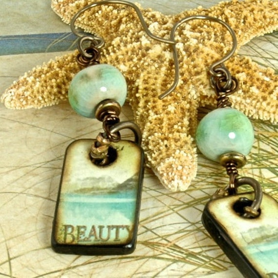 Beauty, Inspirational ART Wood Tile Artisan OOAK Dangle Earrings EBE104