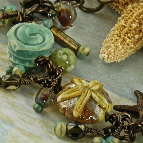 Sea Garden OOAK Artisan Lamp work and Ceramic Vintaj  Bracelet