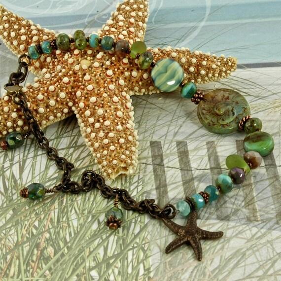 Aqua Nautilus Glass and Brass, Summer Beach  Anklet