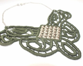 ON SALE Trendy Khaki / Army Green and Silver Stud Embellished Lace Applique Fiber Bib Collar Necklace Lace Necklace on Silver Chain