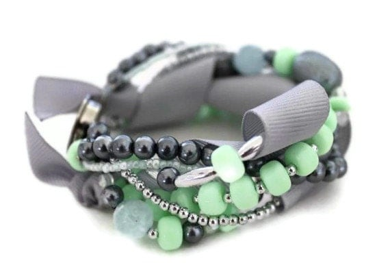 RESERVED FOR ANNA - Mint Green and Silver Multistrand Ribbon Cuff Bracelet