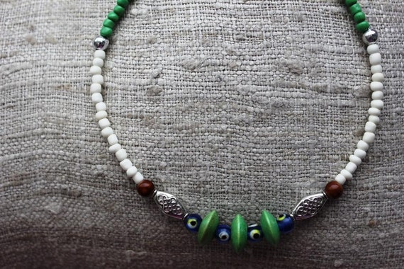 Time to hit the BEACH Little Surfer Boys Green Necklace with Evil Eye Beads