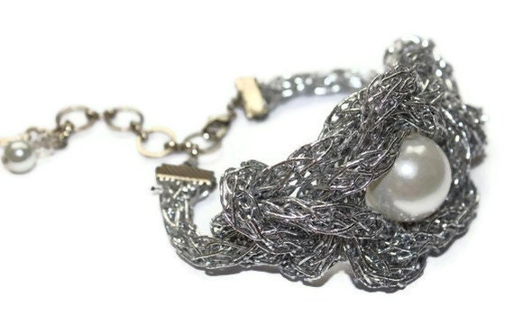 Tangled Web Silver Knot Cuff Bracelet with large Pearl