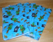 5 Pirate Flannel Baby Wipes