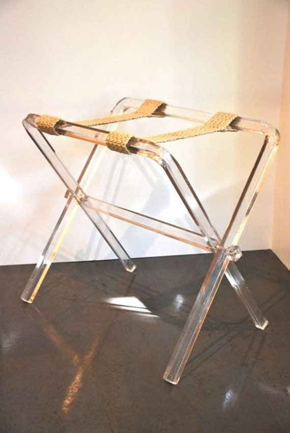 Rare hollywood regency lucite luggage rack tray by therelictrail for Folding luggage racks bedroom
