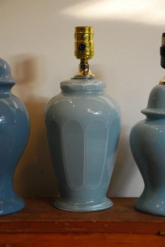 Vintage Powder Blue Glass Table Lamp