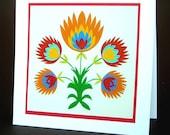 Orange Papercut Flower Blossoms Art Print Card