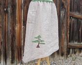 Applique Linen skirt  BONSAI TREE