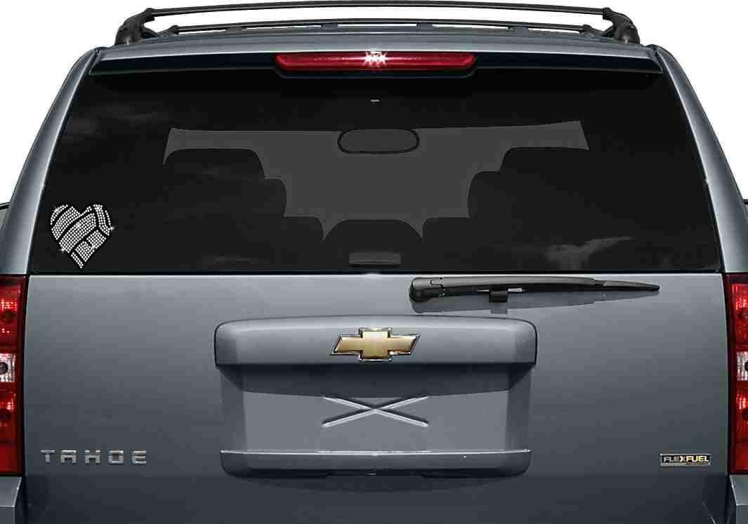 Volleyball Heart Rhinestone Car Window Decal - Car window decal stickers sports