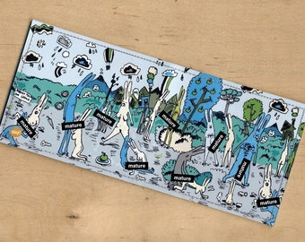 Handmade Billfold Vinyl Art Wallet  - Conejos Pervertidos - Mature Mothereffing Content