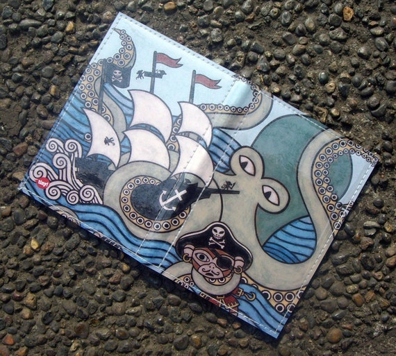 Sea Monster Attack passport case - Matthew Porter for Tinymeat
