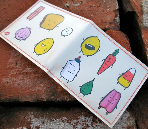 Handmade Billfold Vinyl Art Wallet - Mr Toast and Buddies
