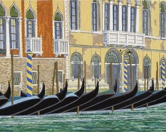 Gondolas On The Grand Canal, Venice - Fine Art Print, Italy, Italian, Mediterranean, Architecture, Home Decor, Wall Art, Gift