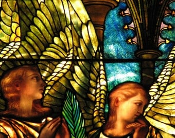 Angels At Twilight - Fine Art Photograph Of Stained Glass Window, Wall Art, Vintage, Print, Home Decor, Gift, Women, Tiffany, Magical