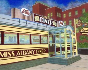 Miss Albany Diner -  Fine Art Print, New York, Vintage Diner, Art Deco, 1940s, Wall Art, Home Decor, Gift, Hudson Valley, Red