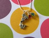 Cheerleader Necklace with Swarovski Crystal Pom Pom Charms