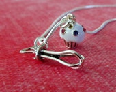 Sterling Silver Whisk and Swarovski Crystal Cupcake Charm Necklace