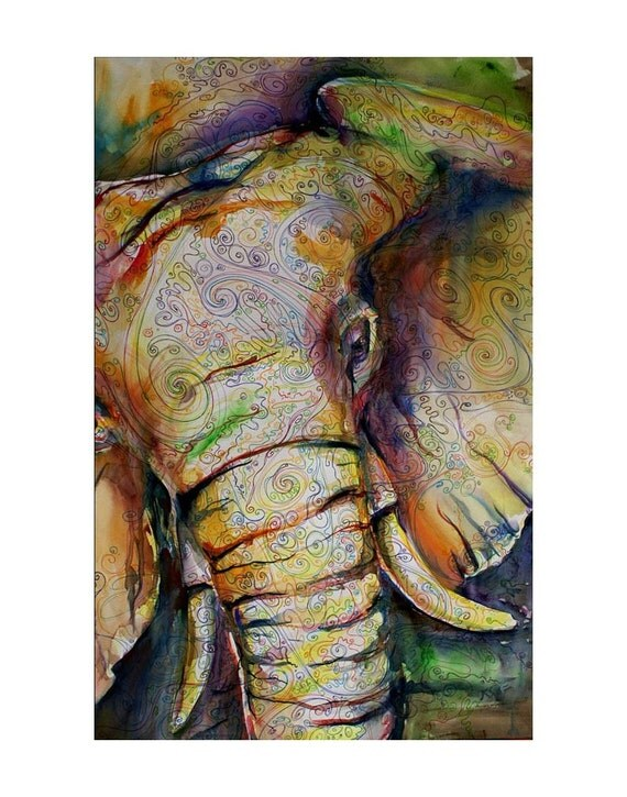 Elephant Watercolor print 18x24