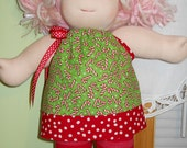 Candy Canes Pillowcase Top and Red Stripe Leggings Set - Waldorf Doll Clothes - Bambo Size - BG