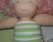 Green and Pink Striped Cotton Knit Tube Top - Waldorf Doll Clothes - 15 Inch Bamboletta Size BG