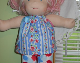 Waldorf Doll Clothes-Pillowcase Floral Top and Gymboree Leggings Set-15 Inch Bambo Size BG