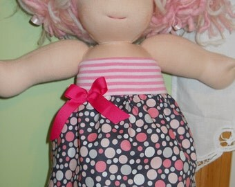 Michael Miller Pink Play Dots and Stripes Tube Dress - Waldorf Doll Clothes - 15 Inch Bambo Size - G