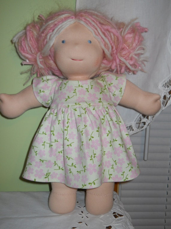 Pink Floral Cotton Knit Dress with Short Sleeves - Waldorf Doll Clothes -15 Inch Bamboletta Size - BG