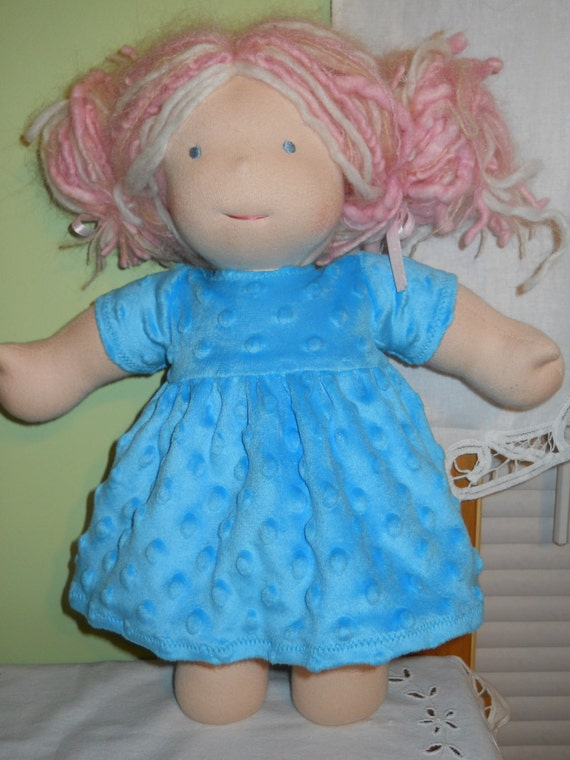Soft Blue Minky Dot Dress with Short Sleeves - Waldorf Doll Clothes -15 Inch Bamboletta Size - G
