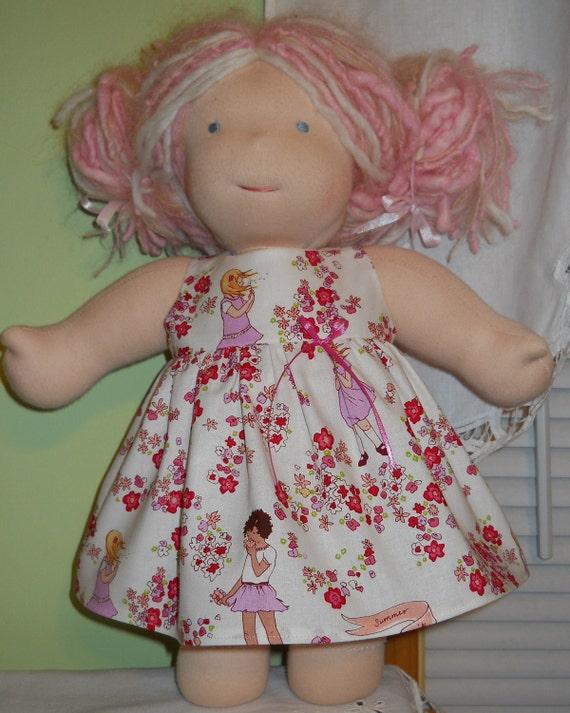 "Children at Play Empire Waist Jumper Dress - Waldorf Doll Clothes - 15"" Bamboletta Size - G"