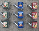 RESERVED FOR WANDERINGFAWN Metal Mini-Watering Cans with Vintage Style Fruit Labels