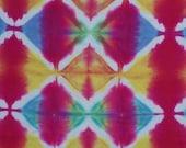 Cotton Fabric, Yardage, Hand Dyed, Repurposed, 22X46 inches, Red, Blue, Yellow, White, Shibori